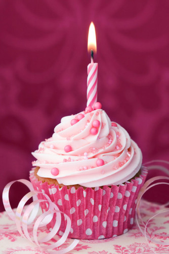 Cupcake decorated with a single pink candle